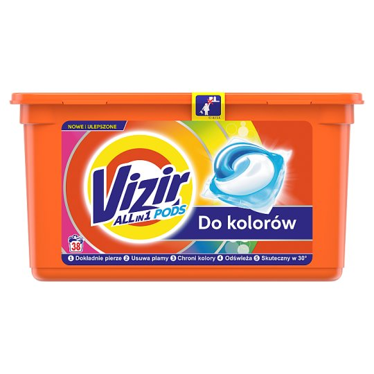 Vizir Washing Capsules Color Triple Action: Cleans Deep, Removes Stains & Protects Colors 38 Washes