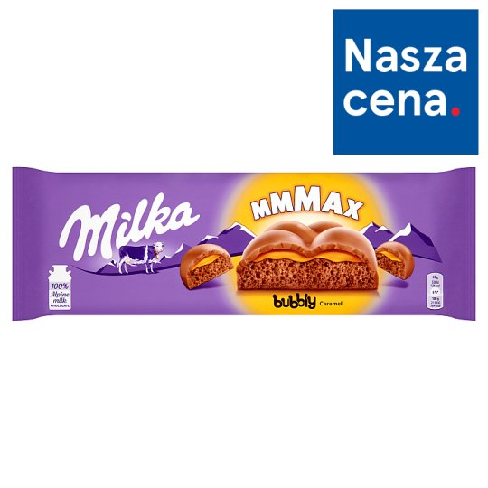 Milka Mmmax Bubbly Caramel Alpine Milk Chocolate 250 g