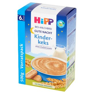 HiPP BIO Na Dobranoc Cereal Milk Porridge with Biscuits from 6. Months Onwards 500 g (2 Pieces)