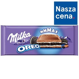 Milka Oreo Herbatniki kakaowe i mleczne nadzienie o smaku waniliowym w czekoladzie mlecznej 300 g