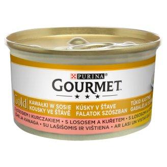 Gourmet Gold Kawałki w sosie z łososiem i kurczakiem Pełnoporcjowa karma dla dorosłych kotów 85 g