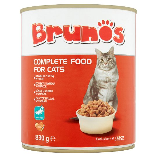 Brunos Pieces with Fish in Sauce Complete Pet Food for Adult Cats 830 g
