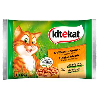 Kitekat Delicate Flavors in a Juicy Sauce Complete Cat Food 400 g (4 x 100 g)