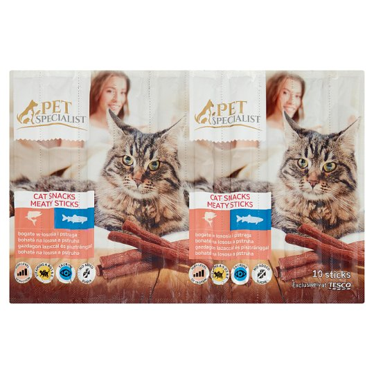 Tesco Pet Specialist Cat Snack with Salmon and Trout Food for Adult Cats 50 g (10 Pieces)