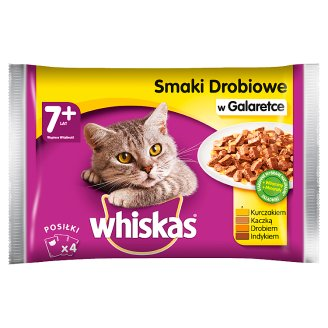Whiskas Selection of Poultry Dishes in Jelly Complete Cat Food 7+ Years 400 g (4 Sachets)