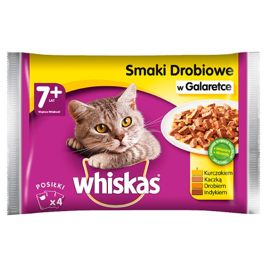 Whiskas 7+ Years Chicken Flavors in Jelly Complete Cat Food 400 g (4 x 100 g)