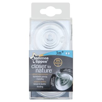 Tommee Tippee Closer to Nature Medium Flow Silicone Soother for Children from 3 Months 2 Pieces