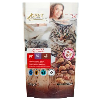 Tesco Pet Specialist Supplementary Food for Adult Cat Cookies with Beef Turkey and Duck 50 g