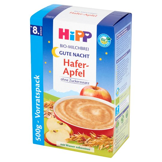 HiPP BIO Na Dobranoc Milk Porridge Oatmeal with Apples from 8. Months Onwards 500 g (2 Pieces)