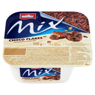 Müller Mix Jogurt bananowy z płatkami kukurydzianymi w mlecznej czekoladzie 150 g