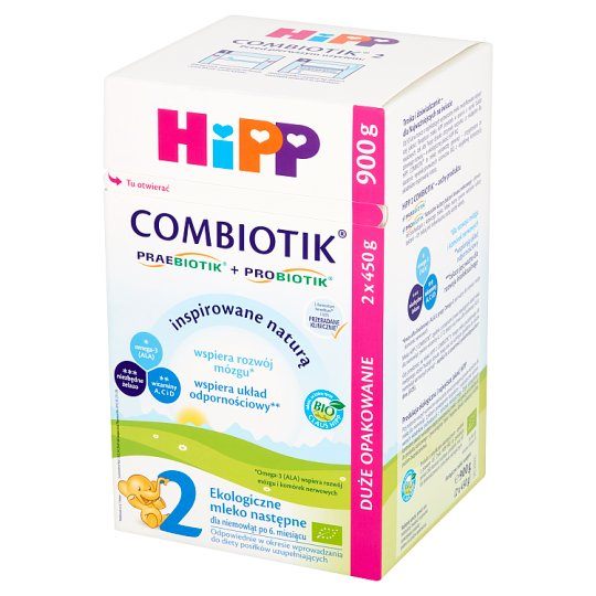 HiPP BIO Combiotik 2 Organic Powdered Milk for Newborns from 6 Months Onwards 900 g (2 Pieces)