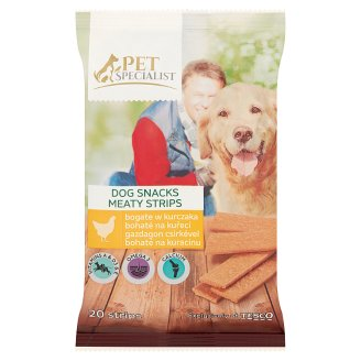 Tesco Pet Specialist Supplementary Food for Adult Dogs Meat Strips Rich in Chicken 172 g (20 Pieces)