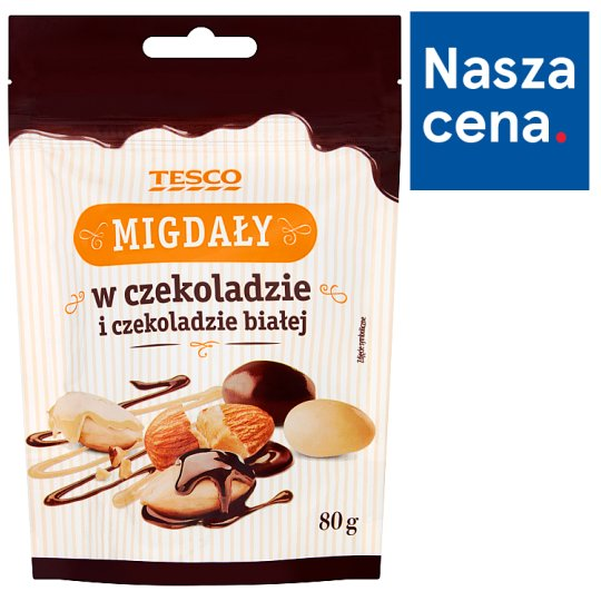 Tesco Almonds in Chocolate and White Chocolate 80 g