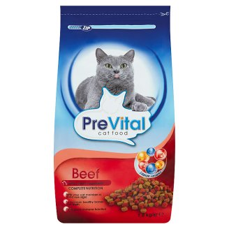PreVital Beef Complete Pet Food for Adult Cats with Beef and Vegetables 1.8 kg
