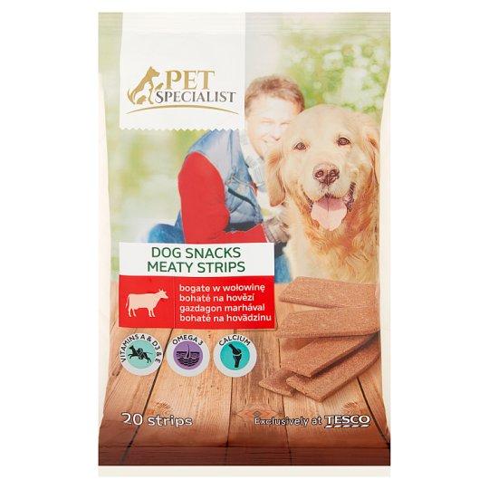 Tesco Pet Specialist Karma uzupełniająca dla dorosłych psów paski bogate w wołowinę 172 g (20 sztuk)