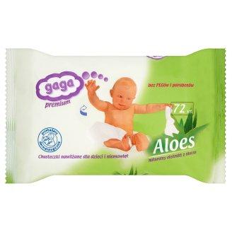 Gaga Premium Aloes Chusteczki nawilżane dla dzieci i niemowląt 72 sztuki