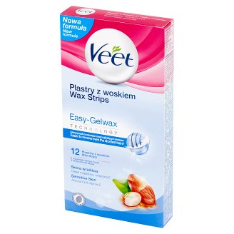 Veet Easy-Gelwax Technology Wax Strips Sensitive Skin 12 Pieces and 2 Wipes