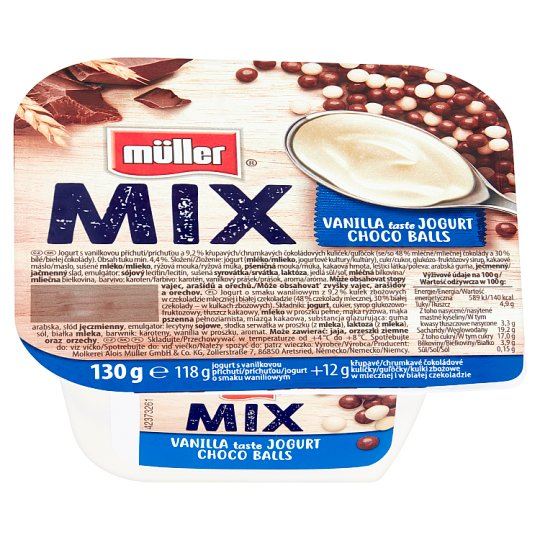 Müller Mix Jogurt o smaku waniliowym z kulkami zbożowymi w czekoladzie mlecznej i białej 130 g