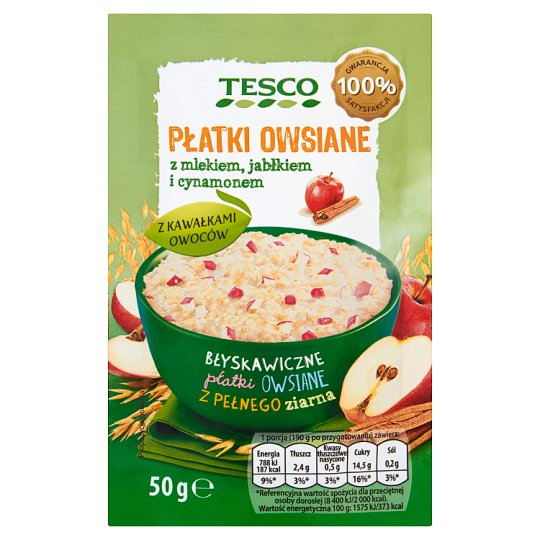 Tesco Rolled Oats with Milk Apple and Cinnamon 50 g