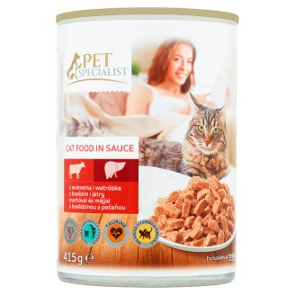 Tesco Pet Specialist Beef and Liver in Sauce Food for Adult Cats 415 g