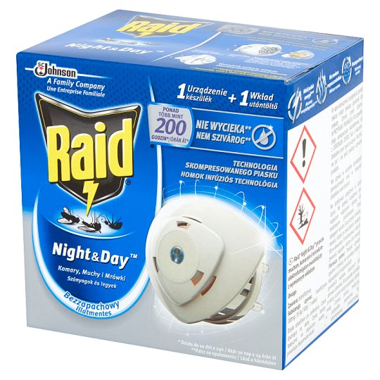 Raid Night & Day Mosquitoes Flies and Ants Electric Device and Refill