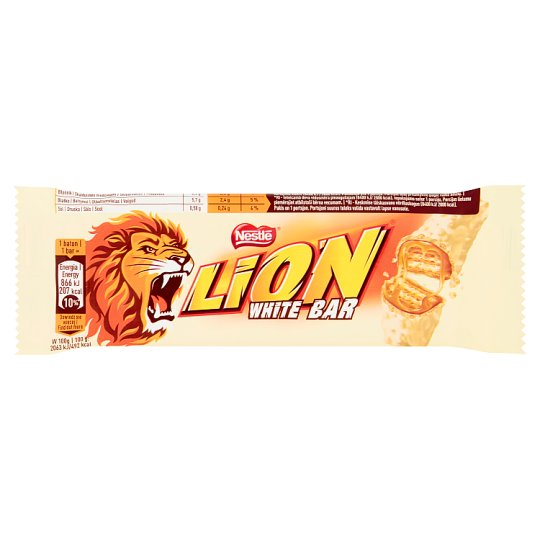 Lion White Wafer Bar Filled with Caramel and Wheat Flakes in White Coating 42 g