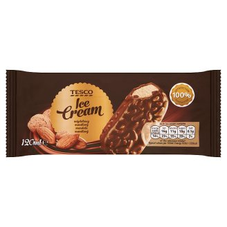 Tesco Vanilla Flavoured Ice Cream Covered with Milk Chocolate with Pieces of Roasted Almonds 120 ml