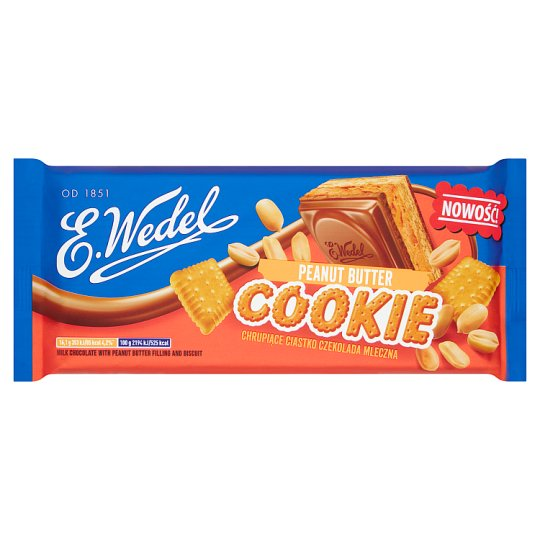 E. Wedel Cookie Milk Chocolate with Peanut Butter Flavour Filling and Biscuit 290 g