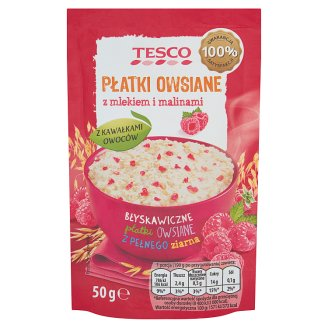 Tesco Rolled Oats with Milk and Raspberries 50 g