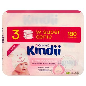 Cleanic Kindii Ultra Sensitive Wipes for Sensitive Skin 180 Pieces
