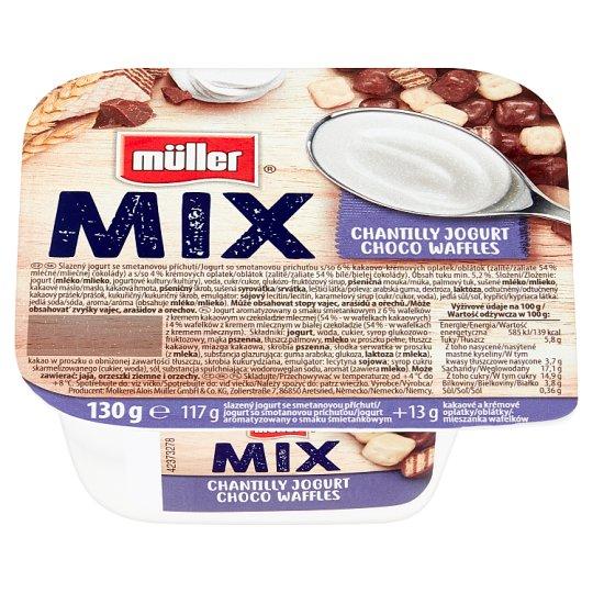 Müller Mix Jogurt o smaku śmietankowym z wafelkami w czekoladzie mlecznej i białej 130 g