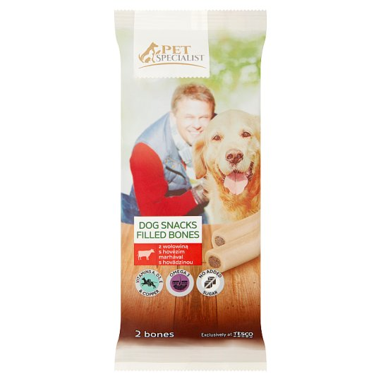 Tesco Pet Specialist Supplementary Food for Adult Dogs Filled Bones with Beef 200 g (2 Pieces)