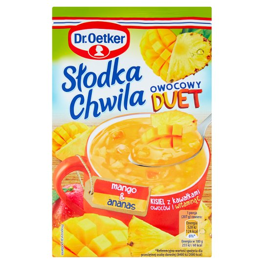 Dr. Oetker Słodka Chwila Fruit Duet Mango & Pineapple Jelly with Pieces of Fruits 32 g