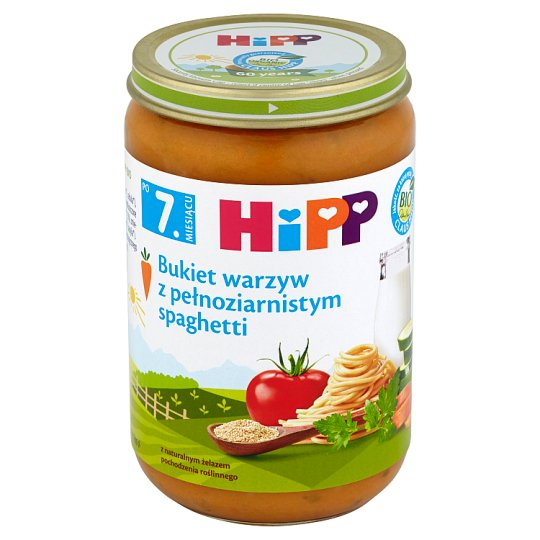 HiPP BIO Bukiet warzyw z pełnoziarnistym spaghetti po 7. miesiącu 220 g