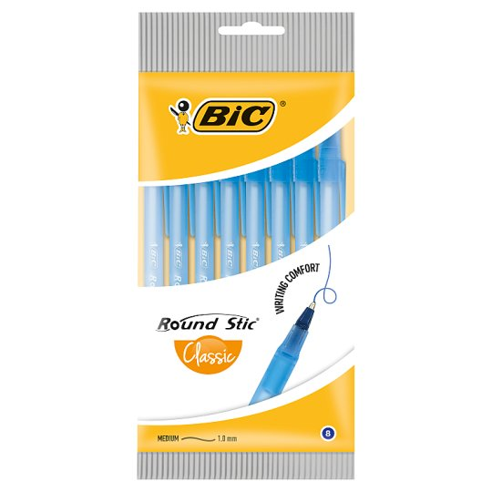 BiC Round Stic Classic Blue Ball Pen 8 Pieces