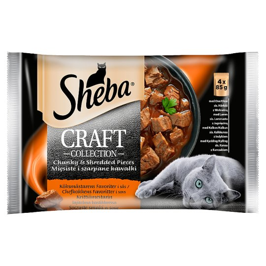 Sheba Craft Collection Juicy Flavors in Gravy Complete Cat Food 340 g (4 x 85 g)