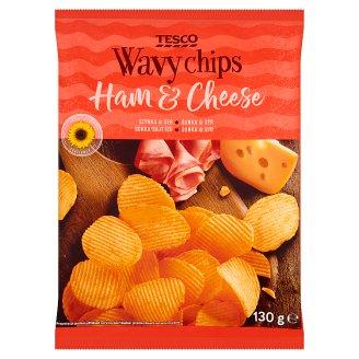 Tesco Ham & Cheese Flavour Wavy Chips 130 g