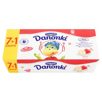 Danone Danonki Raspberry Banana Cottage Cheese 400 g (8 Pieces)