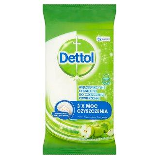 Dettol Wielofunkcyjne chusteczki do czyszczenia powierzchni o zapachu zielonego jabłuszka 32 sztuki