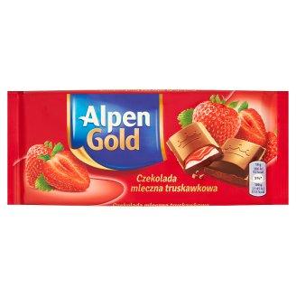 Alpen Gold Czekolada mleczna truskawkowa 90 g