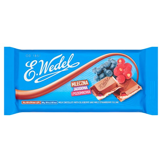 E. Wedel Milk Chocolate with Blueberry and Wild Strawberry Filling 100 g