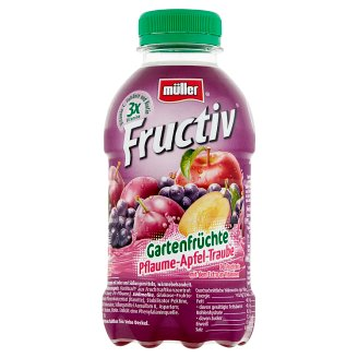 Müller Fructiv Plum-Apple-Grape Fruit Juice and Whey Drink 440 ml