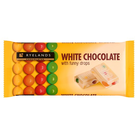 Ryelands Chocolates White Chocolate with Funny Drops 100 g