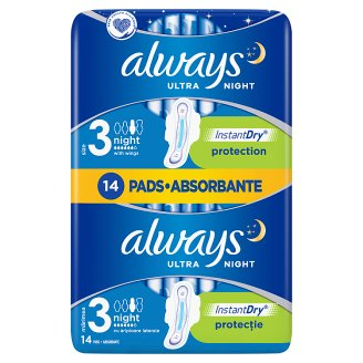 Always Ultra Night Sanitary Pads with wings14x