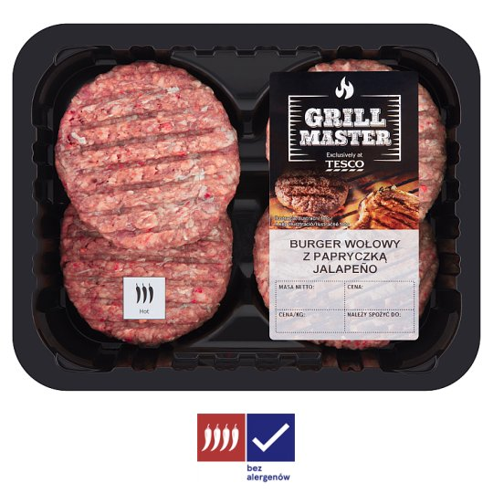 Tesco Beef Burger with Jalapeño Pepper 440 g