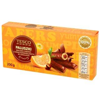 Tesco Paluszki waflowe z kremem o smaku pomarańczowym w czekoladzie 200 g