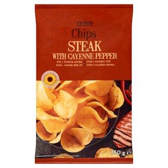 Tesco Chipsy ziemniaczane o smaku wołowiny i pieprzu cayenne 150 g