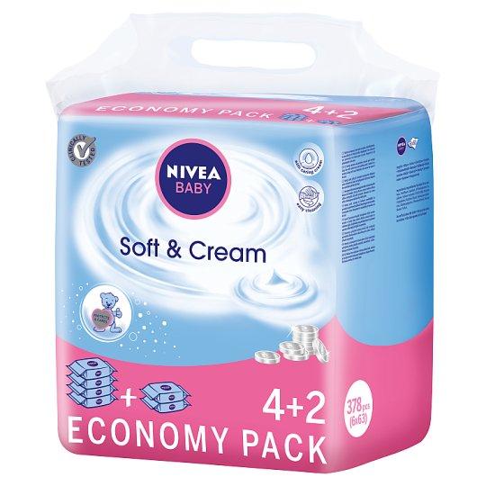 NIVEA Baby Soft & Cream Wipes 378 Pieces (6 x 63 Pieces)