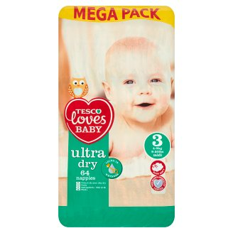 Tesco Loves Baby Ultra Dry 3 Midi 4-9 kg Nappies 64 Pieces