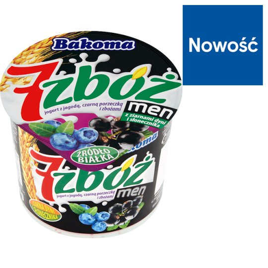 Bakoma 7 zbóż men Yoghurt with Berry Blackcurrant and Cereal 300 g